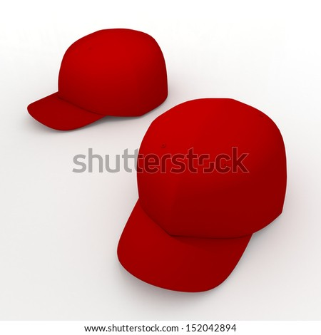 3d red baseball cap, baseball hat, headgear blank template in isolated background with clipping paths, work paths included