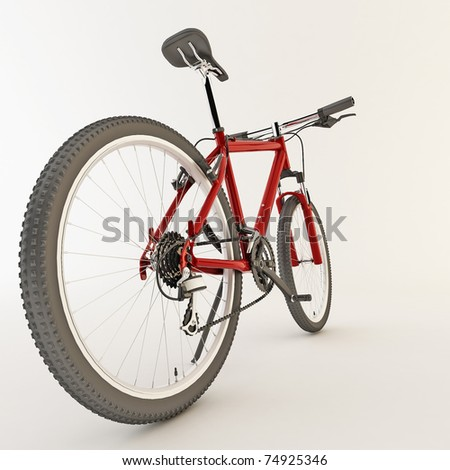 3d red bicycle. Isolated on light background