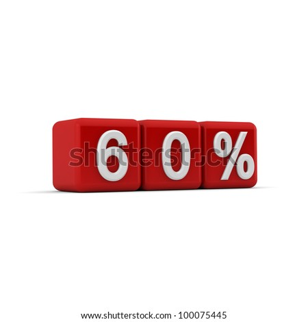 3D red blocks with white sixty percent text