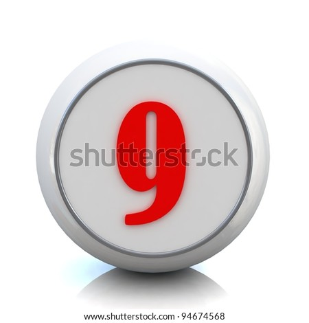 "3d red button with number ""9"""