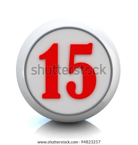 "3d red button with number ""15"""
