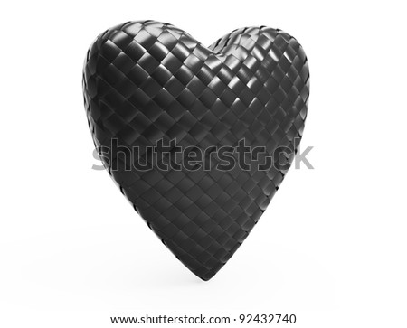 3d red carbon fiber heart on white background