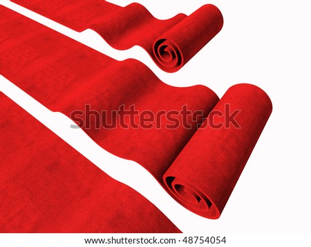 3d red carpets background isolated on white