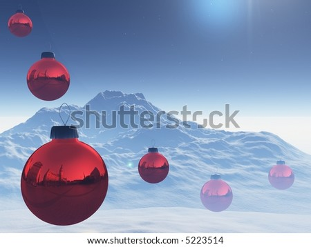 3d red christmas balls in snowy landscape