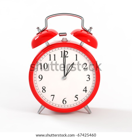 3d red clock on white
