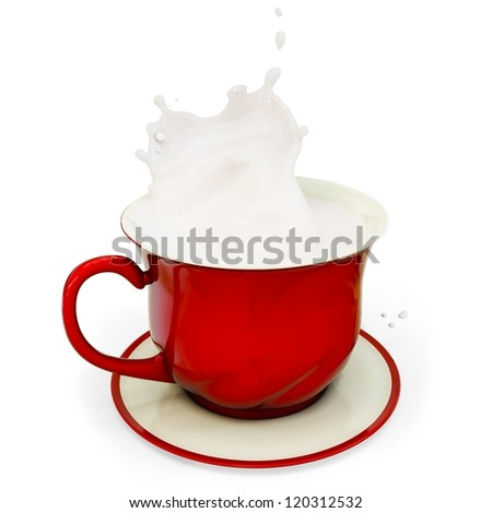 3d red coffee cup with milk splash on white background