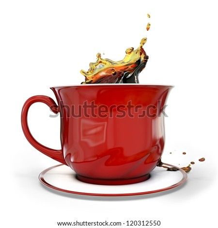 3d red coffee cup with splash on white background