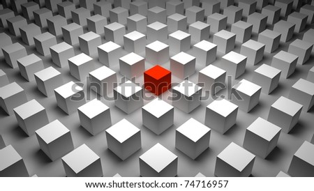 3d red cube
