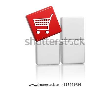 3d red cube with shopping cart sign on grey boxes