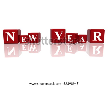 3d red cubes with letters makes New Year