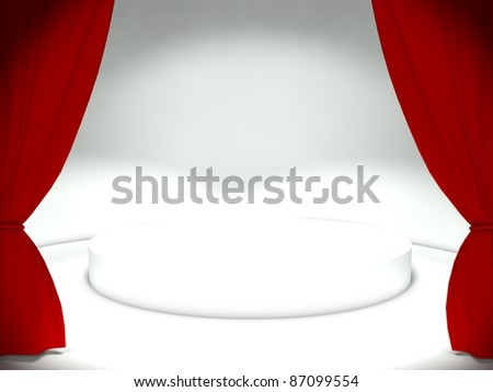 3d red curtain with empty stage