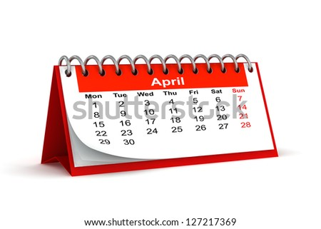 3d red desk paper 2013 year calendar - april month