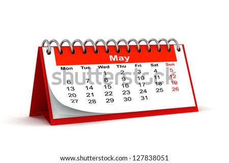 3d red desk paper 2013 year calendar - month of may