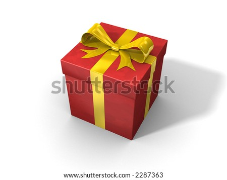 3d red gift-box with yellow ribbon