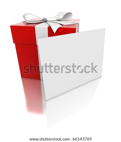 3d red gift with blank card