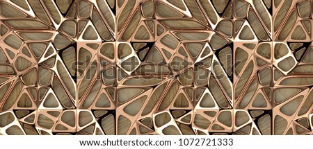 3d red gold lattice tiles on wooden oak background. Material wood oak. High quality seamless realistic texture.