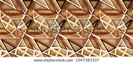 3d red gold loft lattice tiles on wooden oak background. Material wood oak. High quality seamless realistic texture.