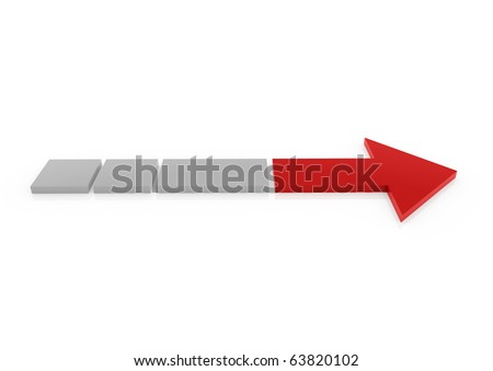 3d red gray arrow right isolated on white background