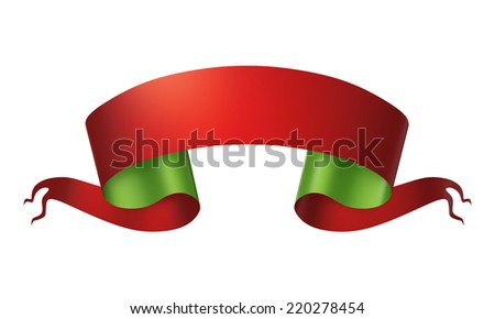 3d red green medieval ribbon placard, Christmas banner label isolated on white background