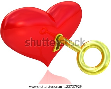 3d red heart with key