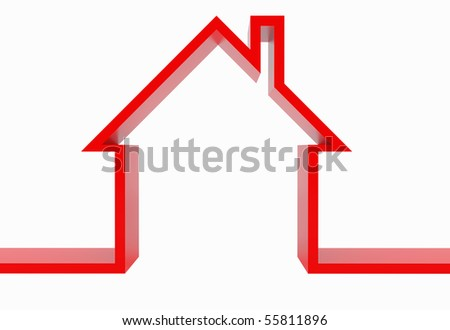 3d Red house isolated on white.