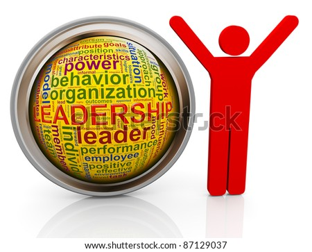 3d red leader with shiny button of 'leadership' wordcloud