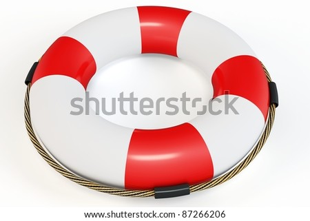 3d Red lifebelt  illustration on white background