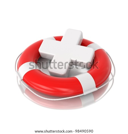 3d red lifebuoy with white medical cross isolated on mirror floor