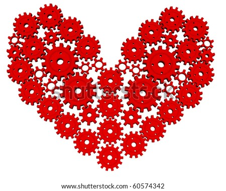 3D red mechanical heart of the small and large gears