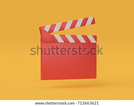 3d red movie-cinema slate cartoon style 3d rendering,movie,cinema,entertainment concept