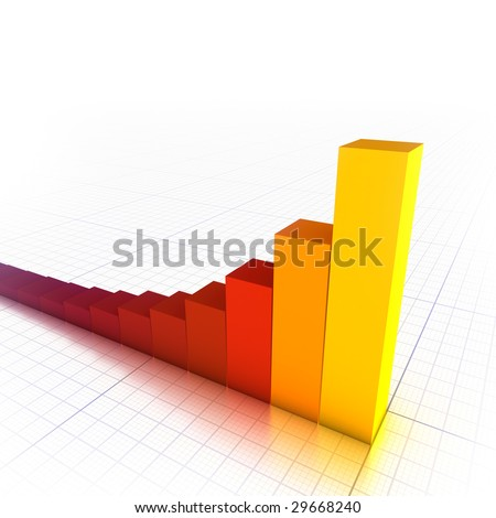3D red/orange bar graph