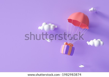 3D Red parachute carrying purple gift box flying through clouds. 3d render illustration