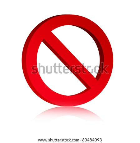 3d red prohibited symbol over white background, Empty to insert text or design