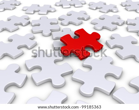 3d red puzzle piece amongst other white ones - stock photo