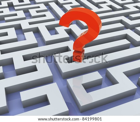 3d red question mark and maze