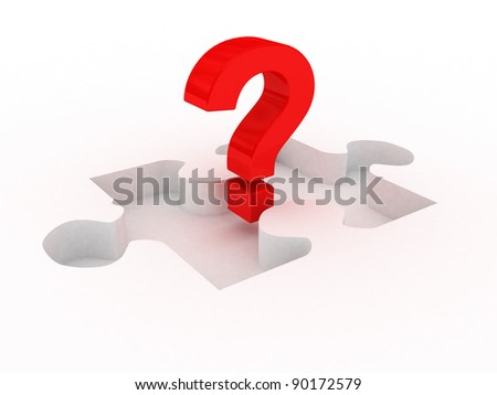 3d red question mark on missing puzzle part place isolated on white