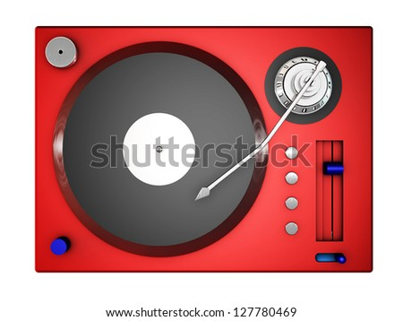 3d red record player