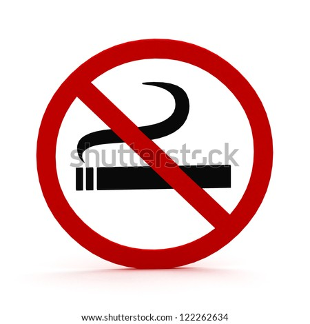 3D Red round no smoking Sign on white background
