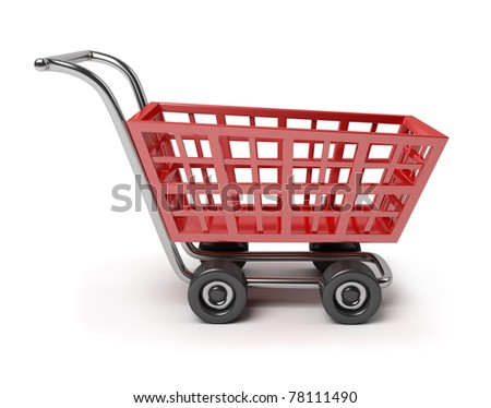 3d red shop cart. 3d image. Isolated white background.