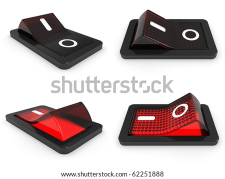3D red switch on white background - 3d render