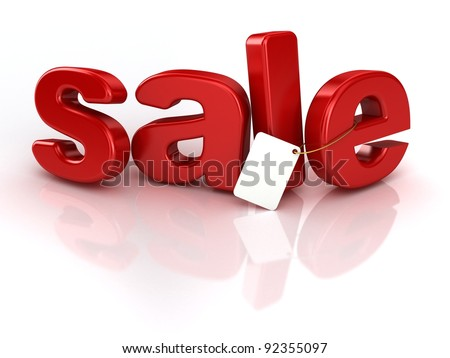 3d red text SALE, isolated over white background