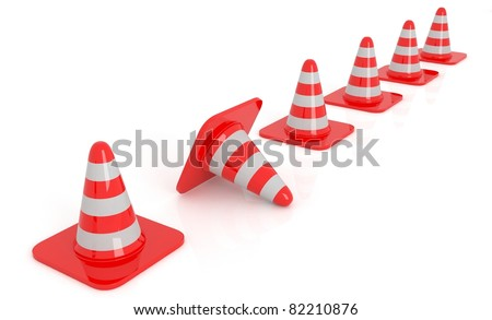 3d red traffic cones for safety isolated over white.