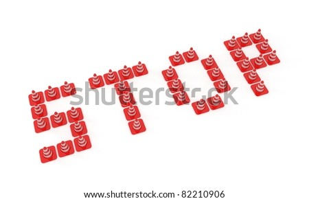 3d red traffic cones for safety isolated over white