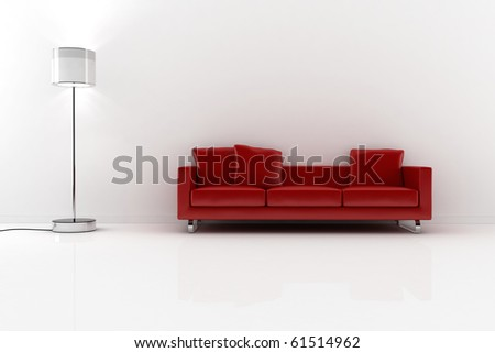 3d red vouch and white walls