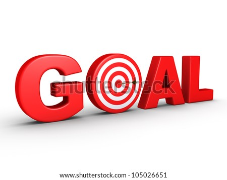 3d red word GOAL as a target and an arrow at the center