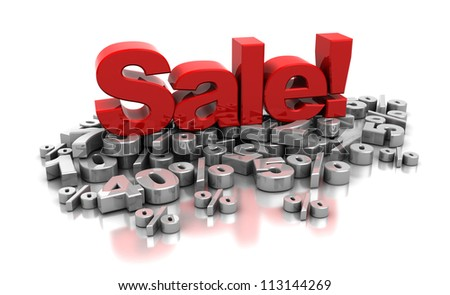 3d red word sale placed on top of percent on a white background