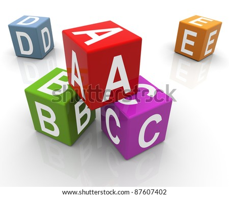 3d reflective colorful abc boxes