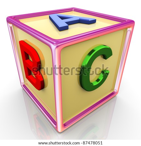 3d reflective colorful abc cube - stock photo