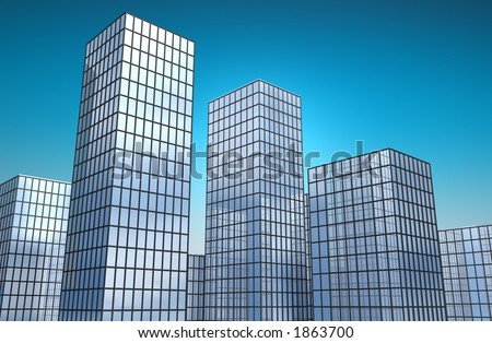 3d reflective glass buildings towering into the sky