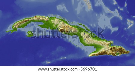 stock photo   3d relief map of cuba  shows major cities and rivers